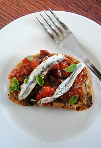 Bruschetta with Seared Tomatoes and White Anchovies