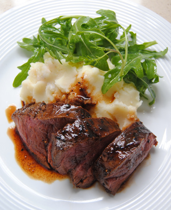 Fillet with Mash, Rocket and Sundried Mango &amp;  Chili Balsamic Reduction